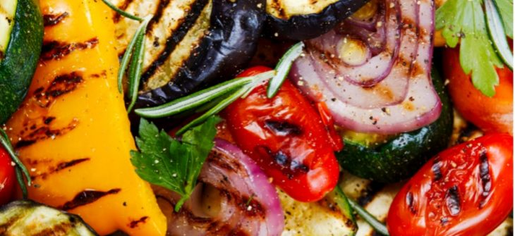 grilled meats and vegatables